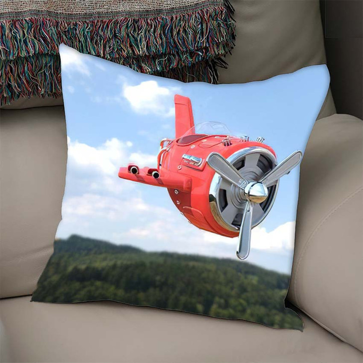 3D Rendering Model Airplane Cartoon Style - Airplane Airport Linen Pillow
