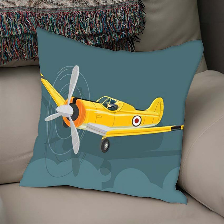 6 Texan North American Old Military - Airplane Airport Linen Pillow