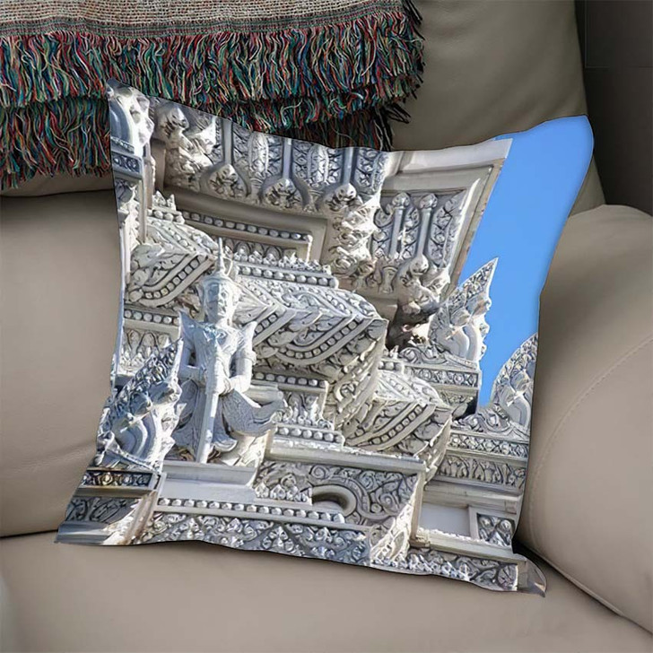 3 Royal Tombs Udong Stupa Preserves - Buddha Religion Linen Pillow For Sale