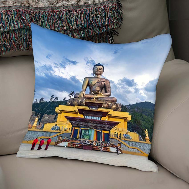169 Feet Tall Bronze Buddha Statue - Buddha Religion Linen Pillow For Sale