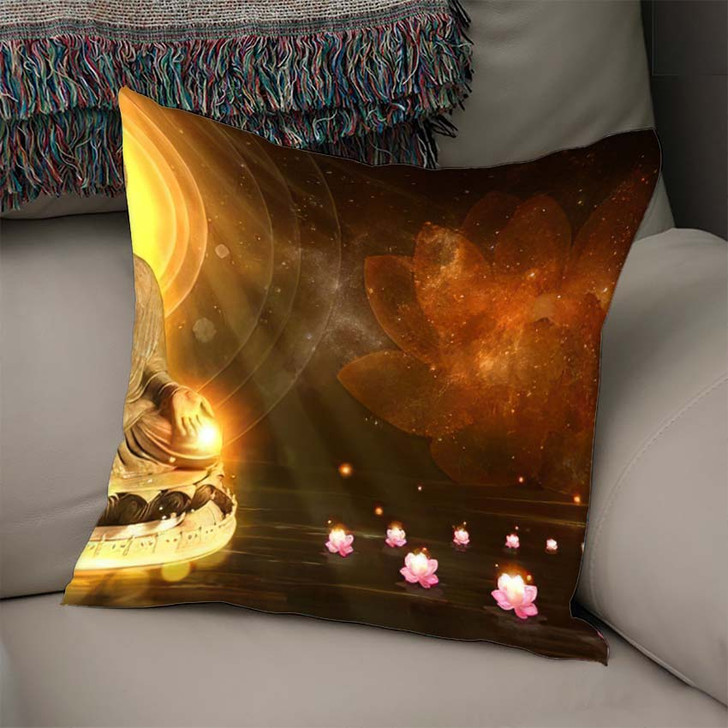 3D Illustration Buddha Sat Lotus Flower - Buddha Religion Linen Pillow For Sale