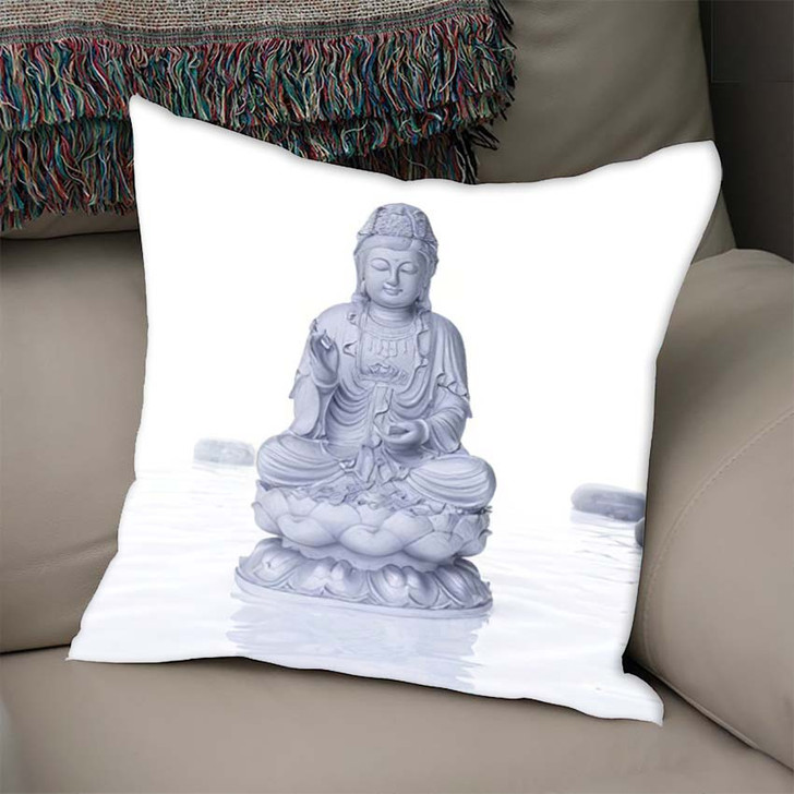 3D Rendered Spa Illustration Buddha Statue - Buddha Religion Linen Pillow For Sale