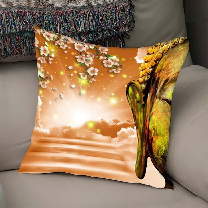 3D Wallpaper Buddha Depicted Way Heaven - Buddha Religion Linen Pillow