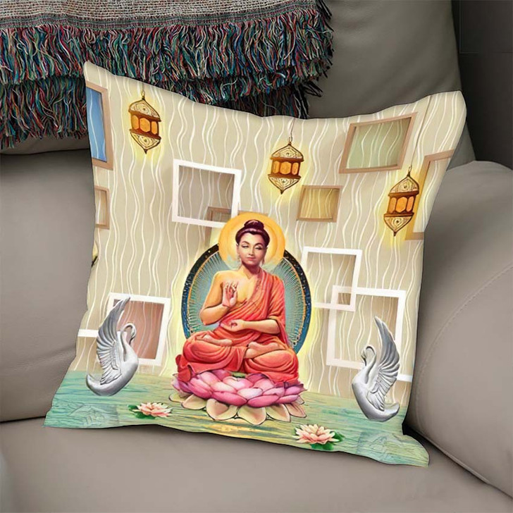 3D Wallpaper Buddha On Lotus Swans - Buddha Religion Linen Pillow