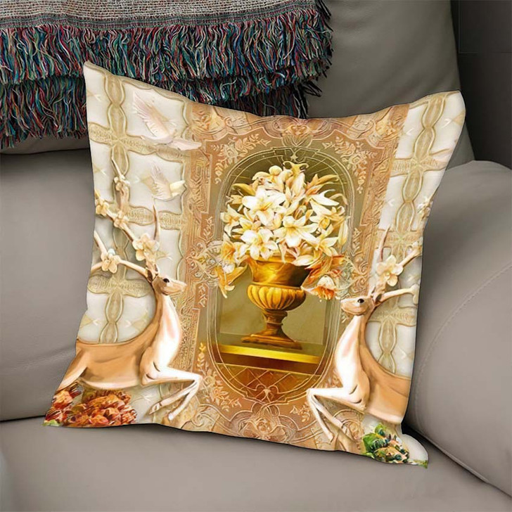 3D Illustration Beige Background Green Golden - Christian Linen Pillow For Sale
