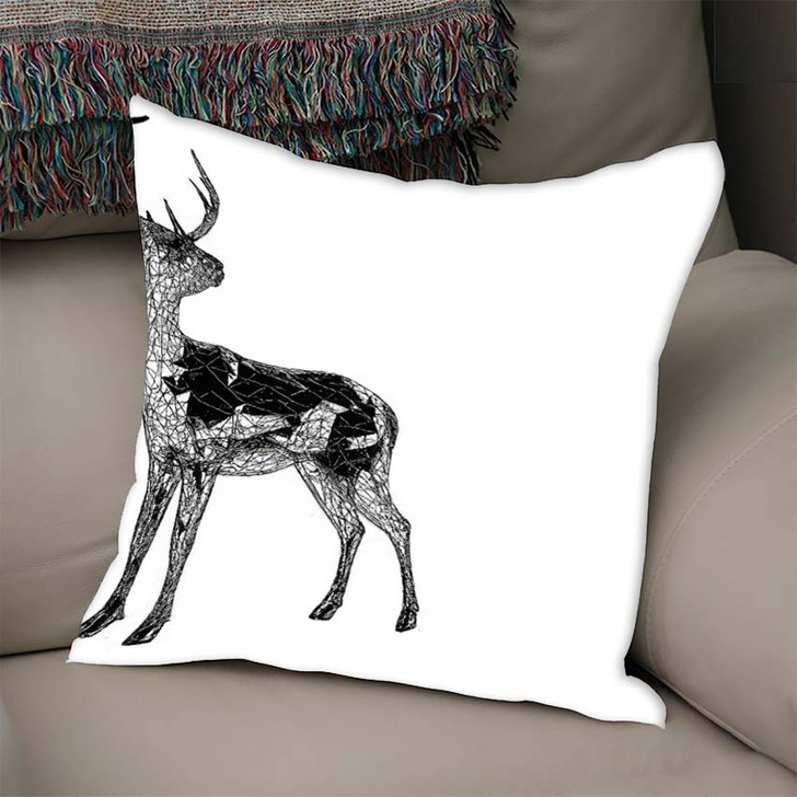 3D Render Unusual Deer Illustration Lines - Deer Animals Linen Pillow For Sale