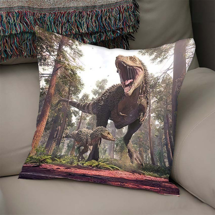3D Rendering Tyrannosaurus Rex Young One - Dinosaur Animals Linen Pillow