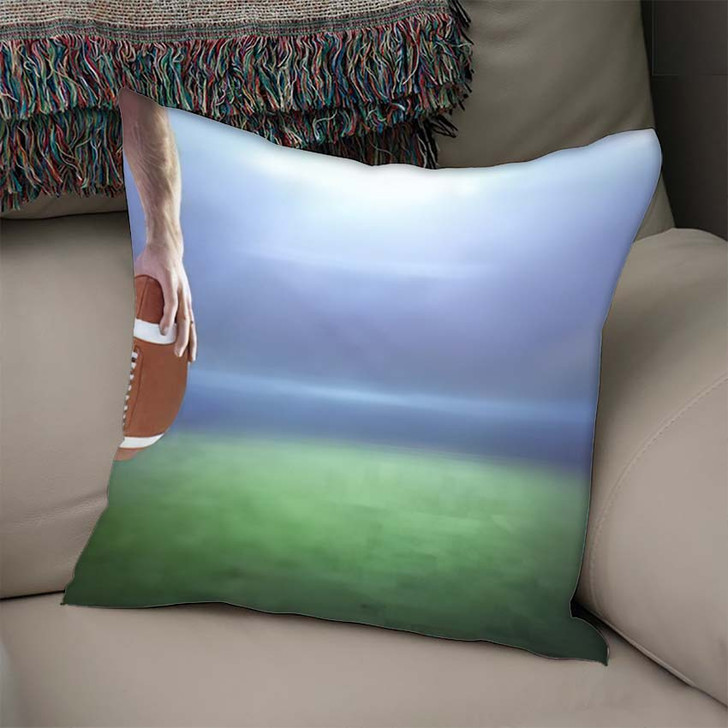 3D American Football Player Holding Against - Football Linen Pillow