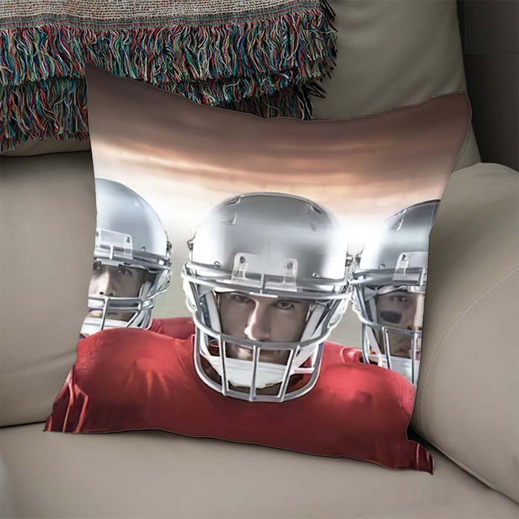 3D American Football Team Against Rugby - Football Linen Pillow For Sale