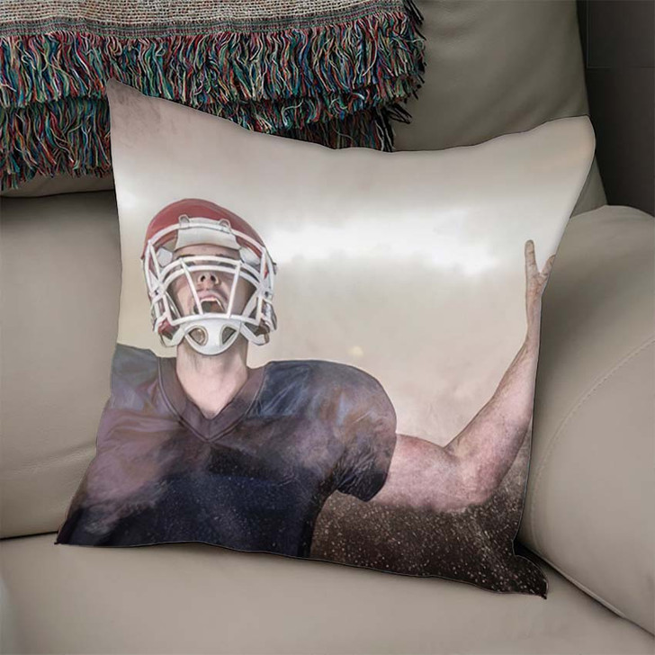 3D Rugby Player Celebrating While Pointing - Football Linen Pillow