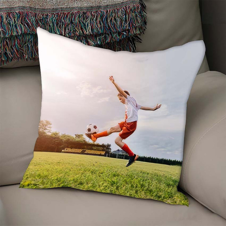 8 Years Old Boy Child Playing - Football Linen Pillow