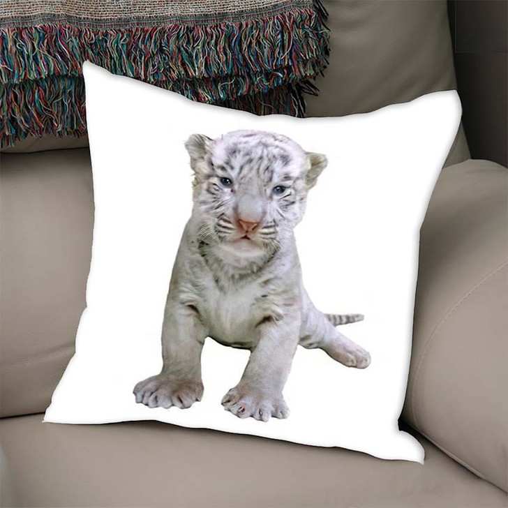 2 Week White Tiger - White Tiger Animals Linen Pillow For Sale