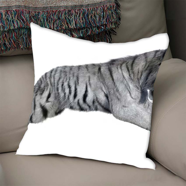 3D Rendering White Tiger Isolated On - White Tiger Animals Linen Pillow
