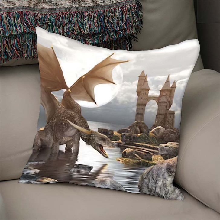 3D Fantasy Dragon Resting On Water - Dragon Animals Linen Pillow For Sale