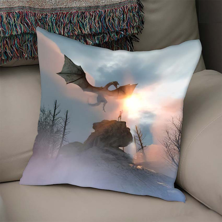 3D Illustration Knight Fighting Dragon Versus - Dragon Animals Linen Pillow