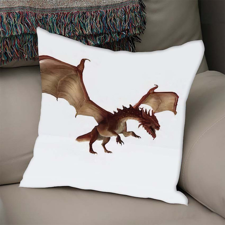 3D Illustration Red Dragon Rendering Fairy - Dragon Animals Linen Pillow For Sale