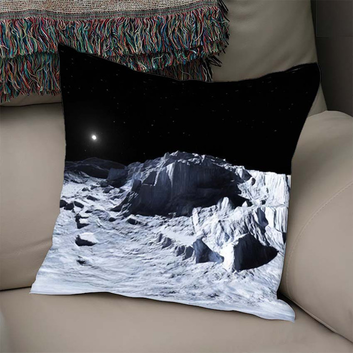 360 Degree View Earths Moon Equirectangular - Sky and Space Linen Pillow