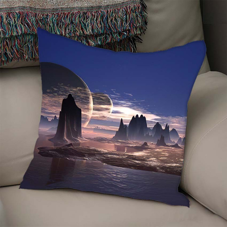 3D Rendered Fantasy Alien Planet - Sky and Space Linen Pillow For Sale