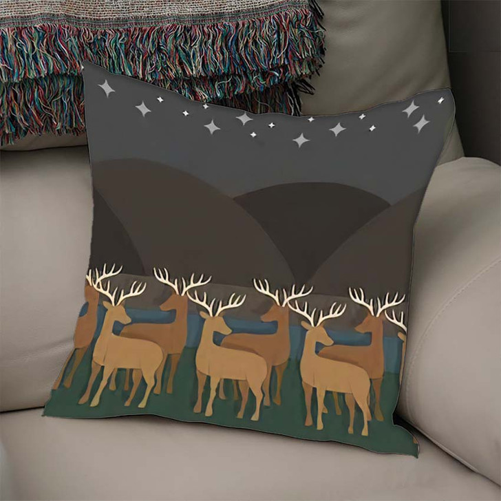 2D Minimal Paperlike Shaded Shadowed Graphics - Starry Night Sky and Space Linen Pillow