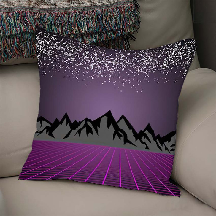 80S Style Scifi Dark Starry Sky - Starry Night Sky and Space Linen Pillow