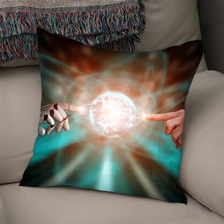 3D Rendering Artificial Intelligence Ai Research 11 - Creation of Adam Linen Pillow For Sale