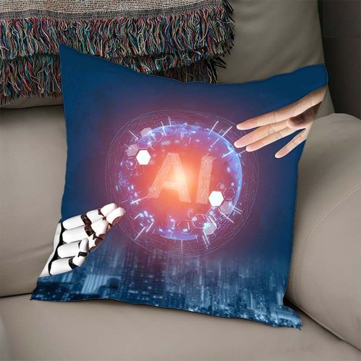 3D Rendering Futuristic Robot Technology Development 2 - Creation of Adam Linen Pillow