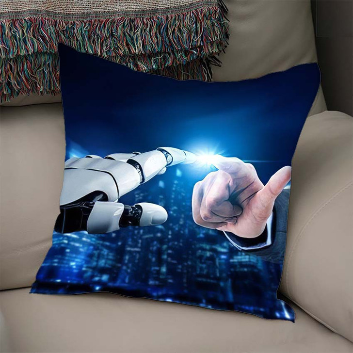 3D Rendering Futuristic Robot Technology Development 12 - Creation of Adam Linen Pillow