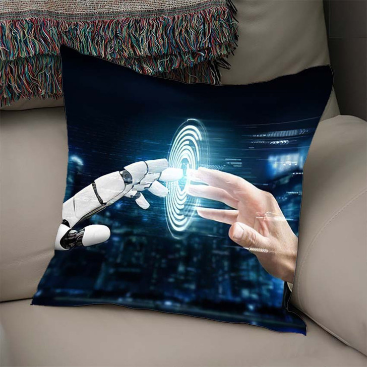 3D Rendering Futuristic Robot Technology Development 17 - Creation of Adam Linen Pillow