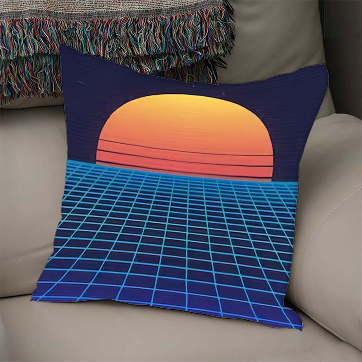 1980S Retro Futuristic Background Sunset Laser - Galaxy Sky and Space Linen Pillow For Sale