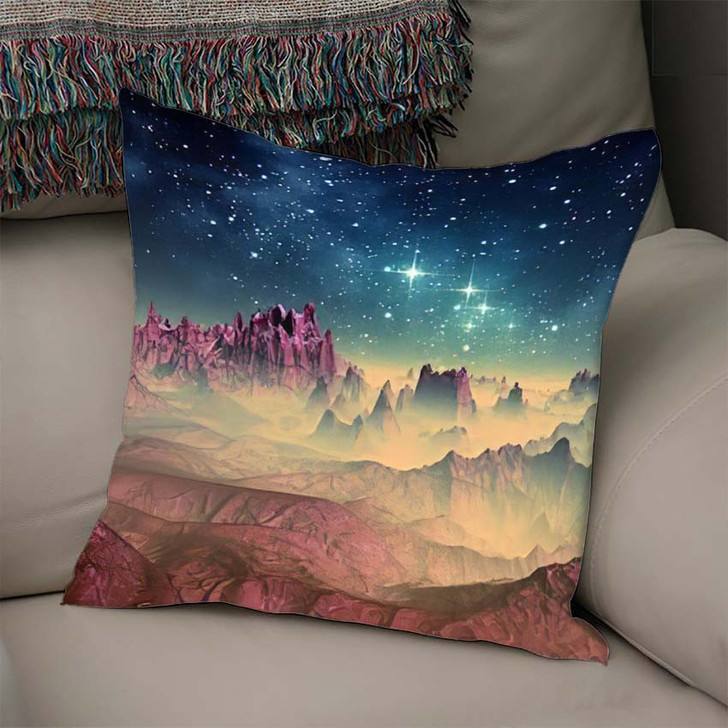 3D Created Rendered Fantasy Alien Planet 1 - Galaxy Sky and Space Linen Pillow For Sale