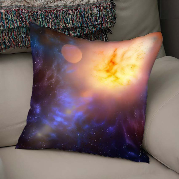 3D Illustration Planets Galaxy Science Fiction 6 - Galaxy Sky and Space Linen Pillow