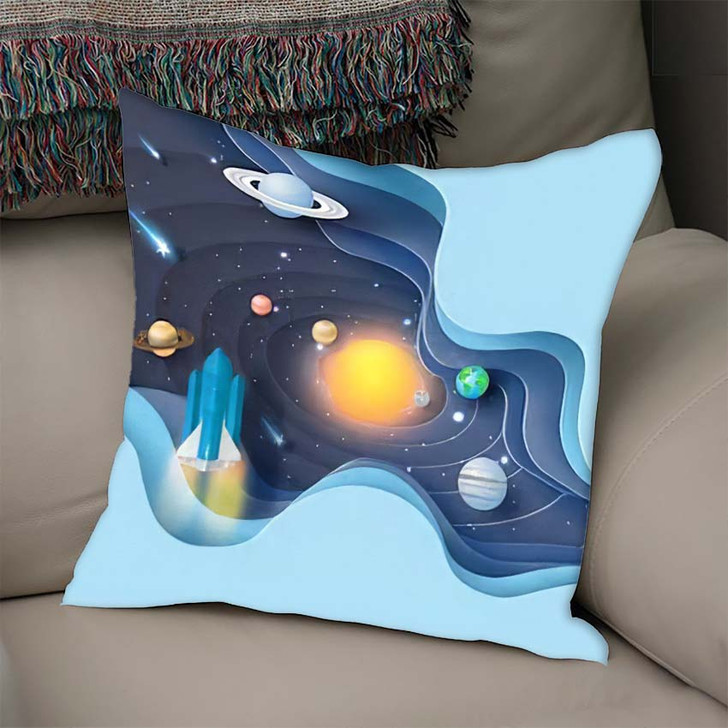 3D Paper Art Abstract Curve Wave - Galaxy Sky and Space Linen Pillow For Sale
