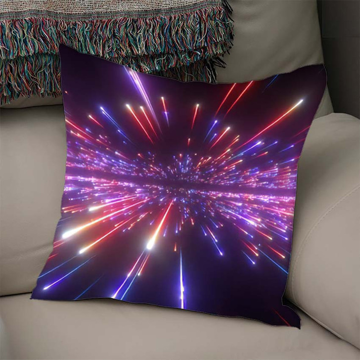 3D Render Red Blue Fireworks Abstract - Galaxy Sky and Space Linen Pillow For Sale