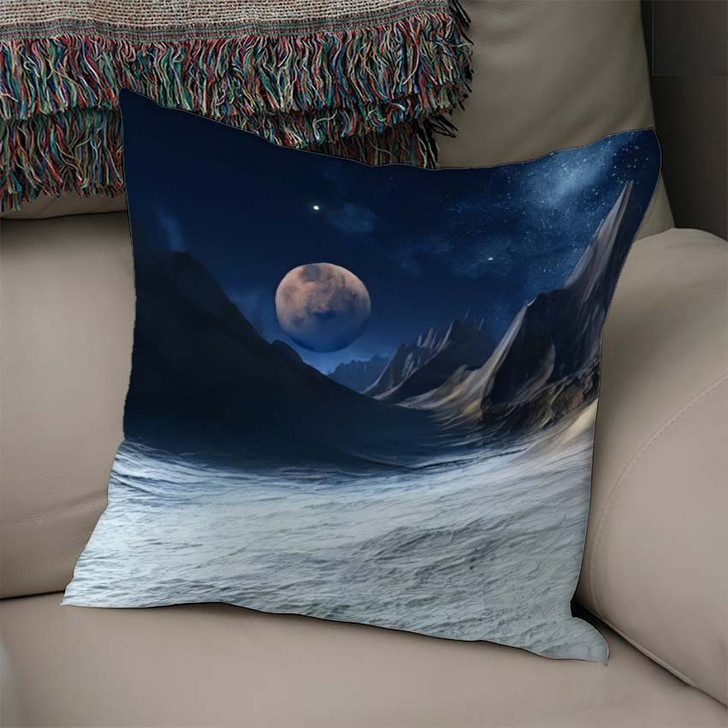 3D Rendered Fantasy Alien Landscape Illustration 1 - Galaxy Sky and Space Linen Pillow For Sale