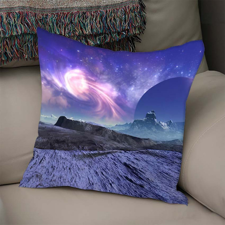 3D Rendered Fantasy Alien Landscape Illustration 1  1 - Galaxy Sky and Space Linen Pillow For Sale
