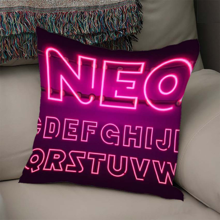 80 S Purple Neon Retro Font 1 - Galaxy Sky and Space Linen Pillow