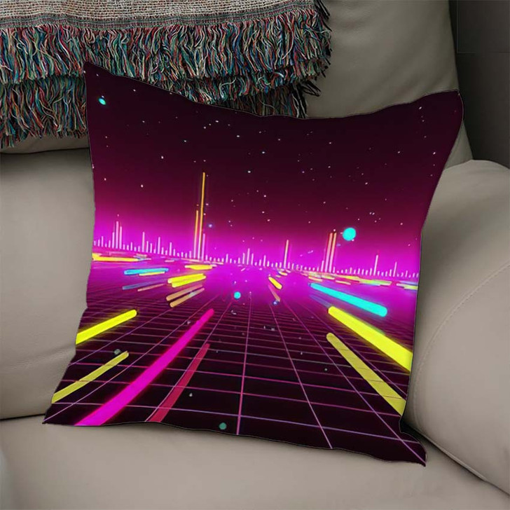 80S Futurism Neon Tube 1 - Galaxy Sky and Space Linen Pillow