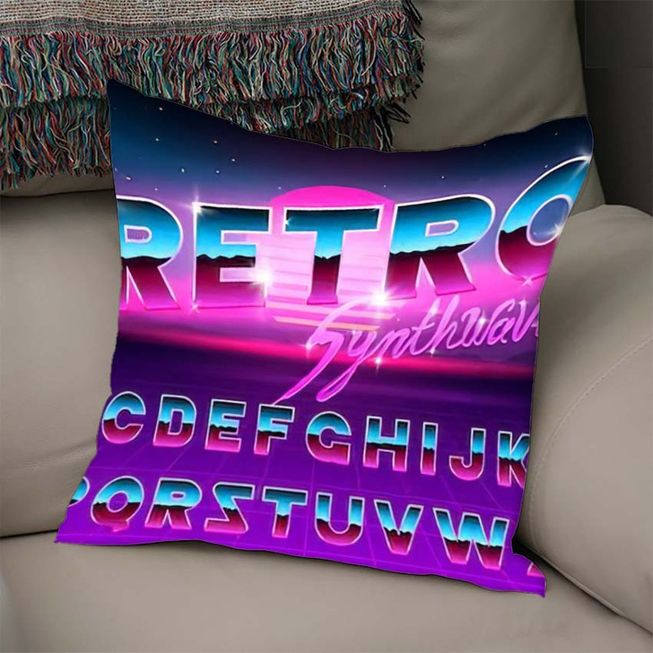 80S Purple Neon Retro Font Futuristic 2 - Galaxy Sky and Space Linen Pillow