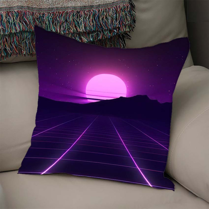 80S Retro Background Illustartion 3D Render - Galaxy Sky and Space Linen Pillow