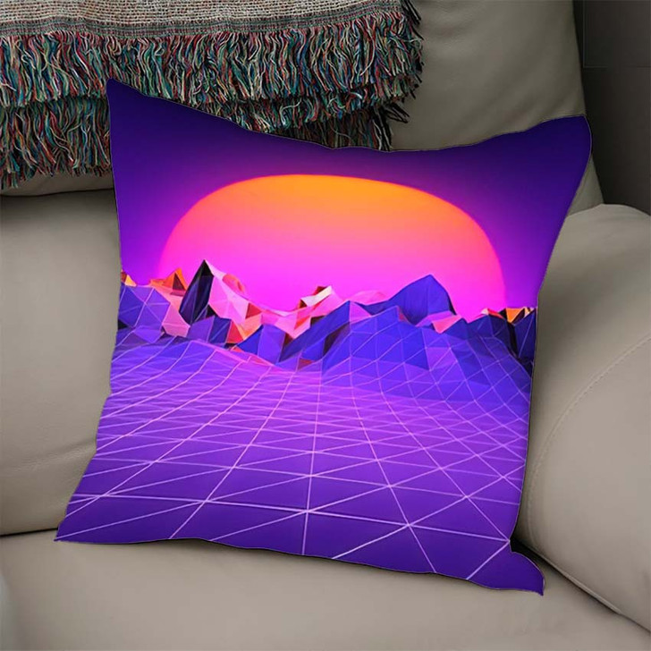 80S Retro Brackground Sunset Terrain - Galaxy Sky and Space Linen Pillow