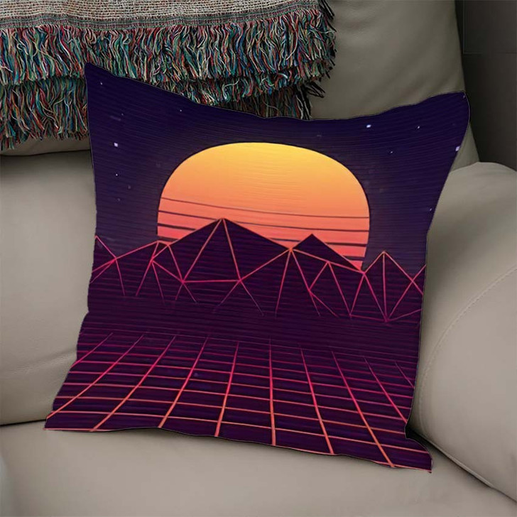 80S Retro Futuristic Background Laser Grid - Galaxy Sky and Space Linen Pillow