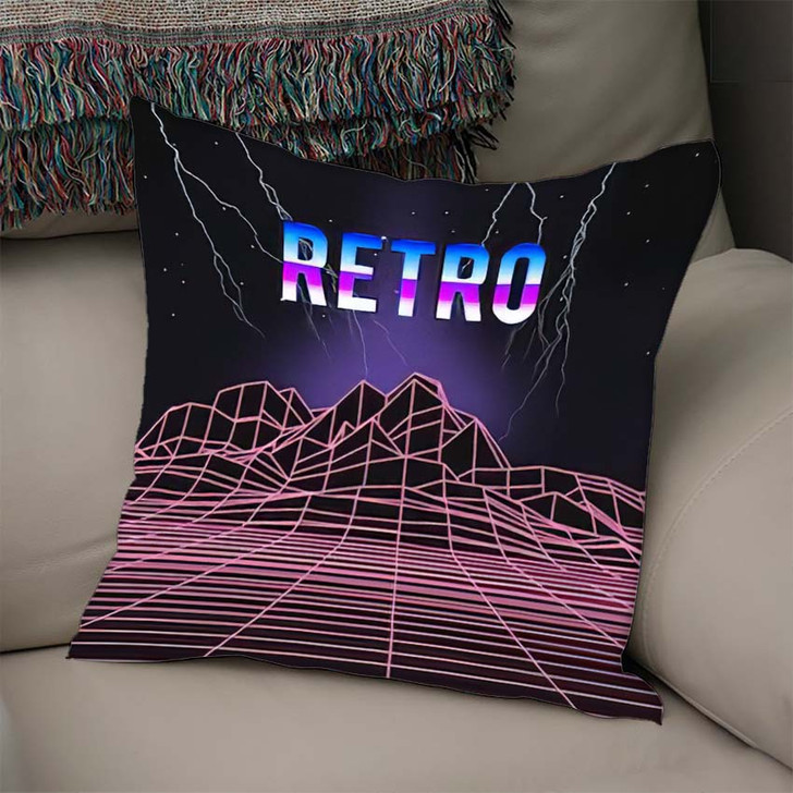 80S Retro Music Cover Neon Light - Galaxy Sky and Space Linen Pillow