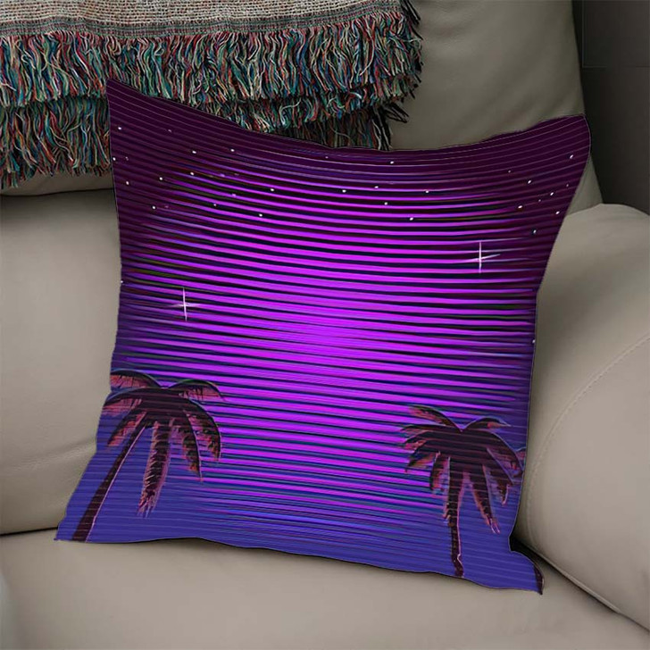 80S Retro Neon Gradient Background Palms - Galaxy Sky and Space Linen Pillow