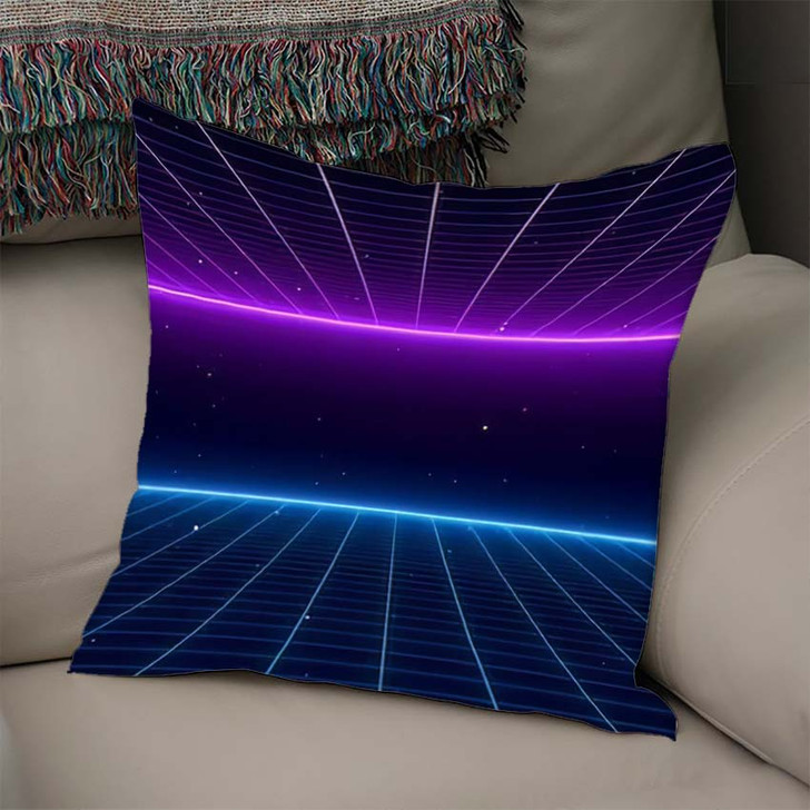 80S Retro Scifi Background Futuristic Grid - Galaxy Sky and Space Linen Pillow