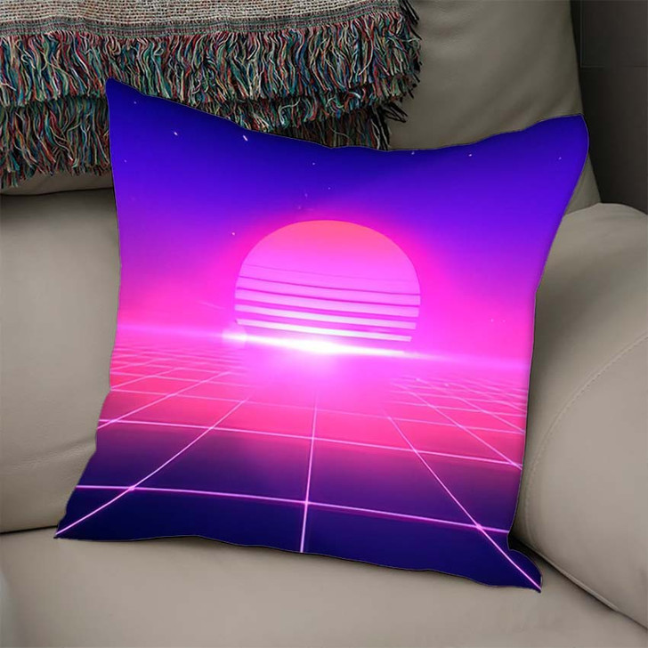 80S Retro Style Abstract Background Sun - Galaxy Sky and Space Linen Pillow