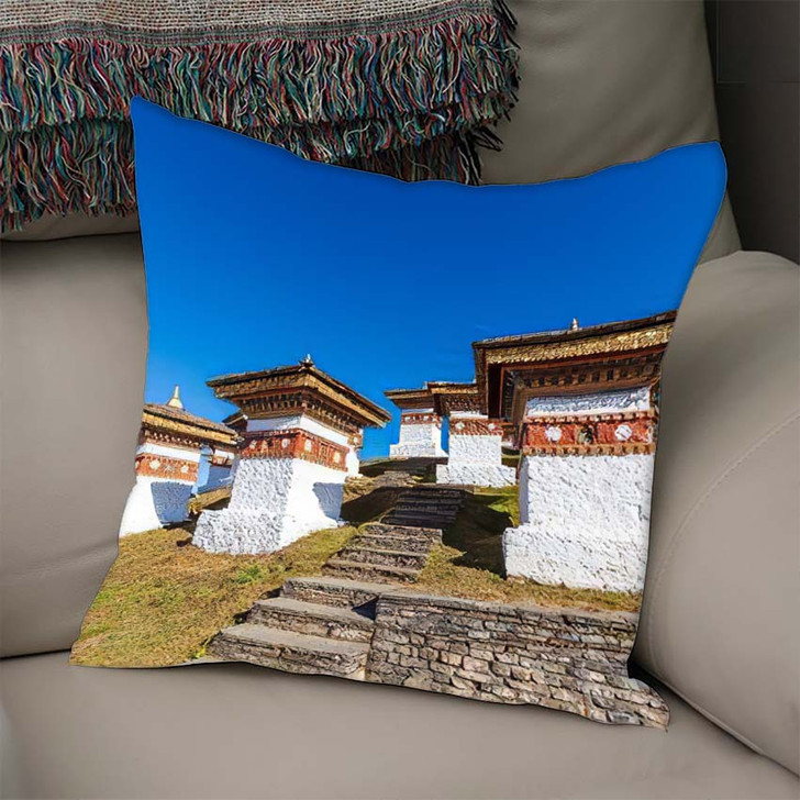 108 Chortens Druk Wangyal On Dochula - Landmarks and Monuments Linen Pillow For Sale
