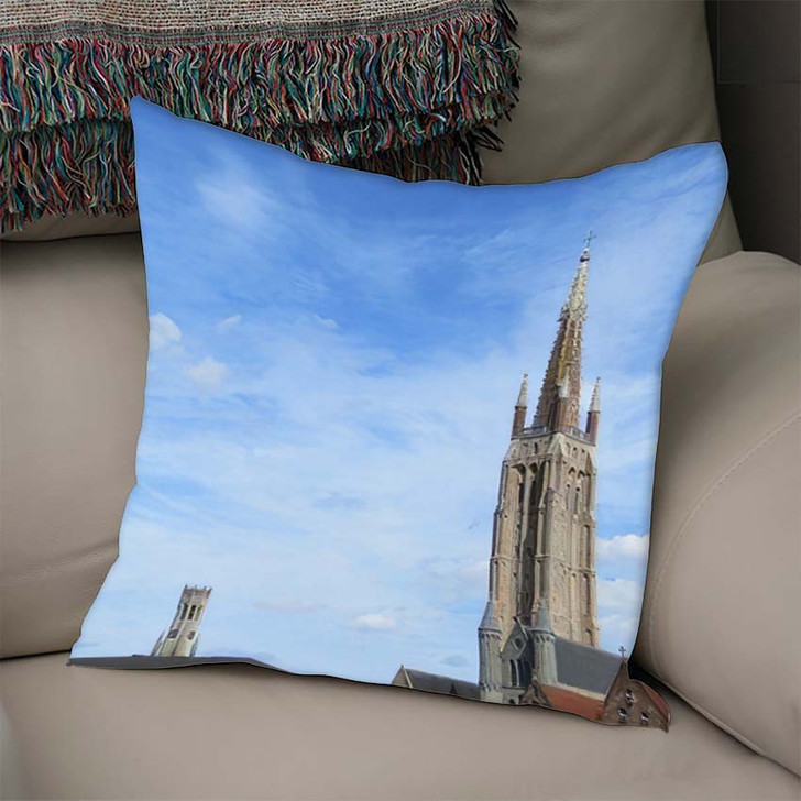 1155 Metres High Brick Tower Church - Landmarks and Monuments Linen Pillow For Sale