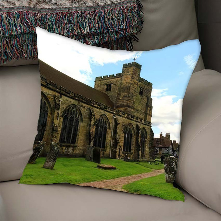 14Th Century St Marys Church Old - Landmarks and Monuments Linen Pillow For Sale
