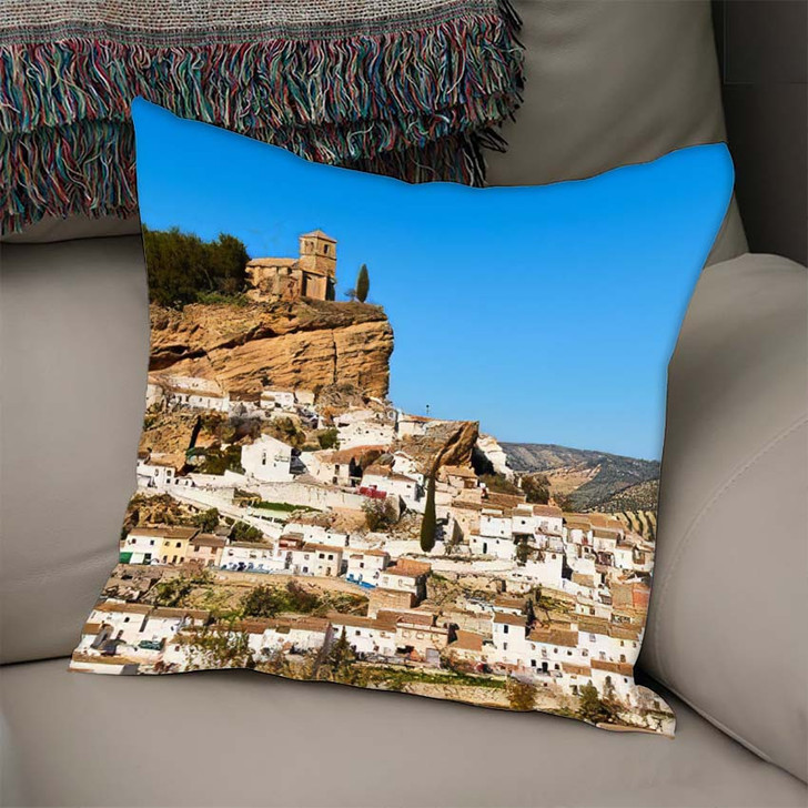 15Th Century Iglesia De La Villa - Landmarks and Monuments Linen Pillow For Sale