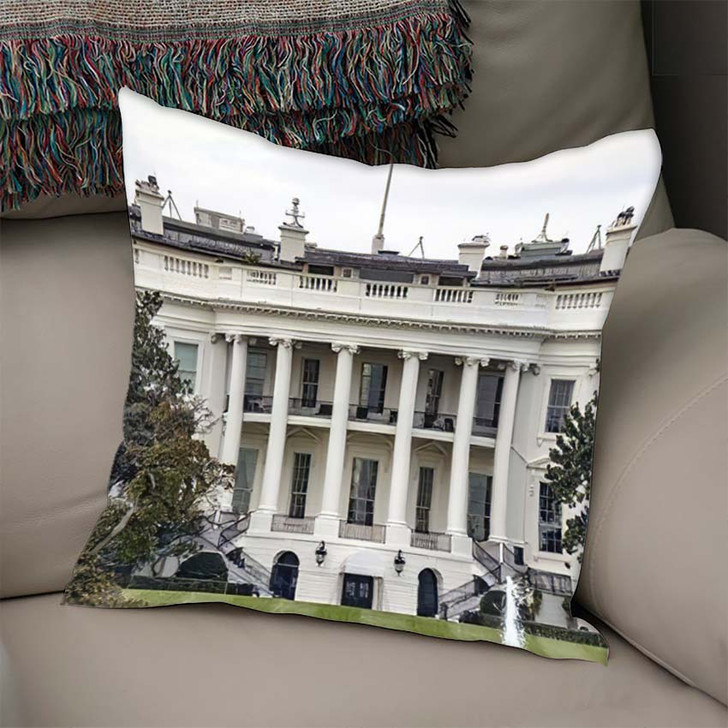 1600 Pennsylvania Avenue Washington Dc White - Landmarks and Monuments Linen Pillow For Sale